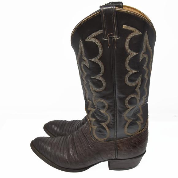 a371cf9e23d Tony Lama Sz 8D Brown Lizard Leather Skin Cowboy